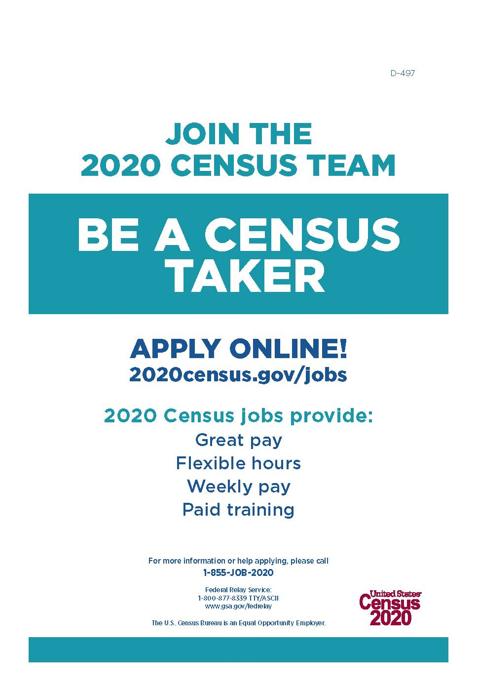 D-497 Be A Census Taker Poster